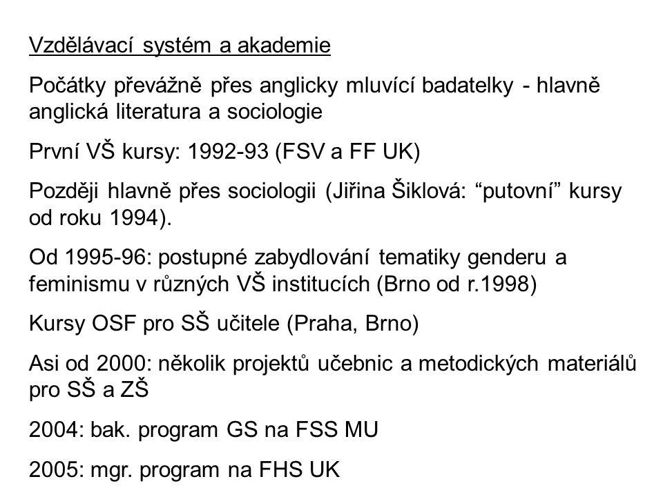 Vzdělávací systém a akademie Počátky převážně přes anglicky mluvící badatelky - hlavně anglická literatura a sociologie První VŠ kursy: 1992-93 (FSV a