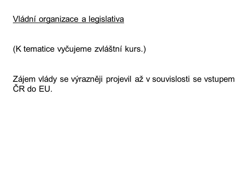 Vládní organizace a legislativa (K tematice vyčujeme zvláštní kurs.) Zájem vlády se výrazněji projevil až v souvislosti se vstupem ČR do EU.