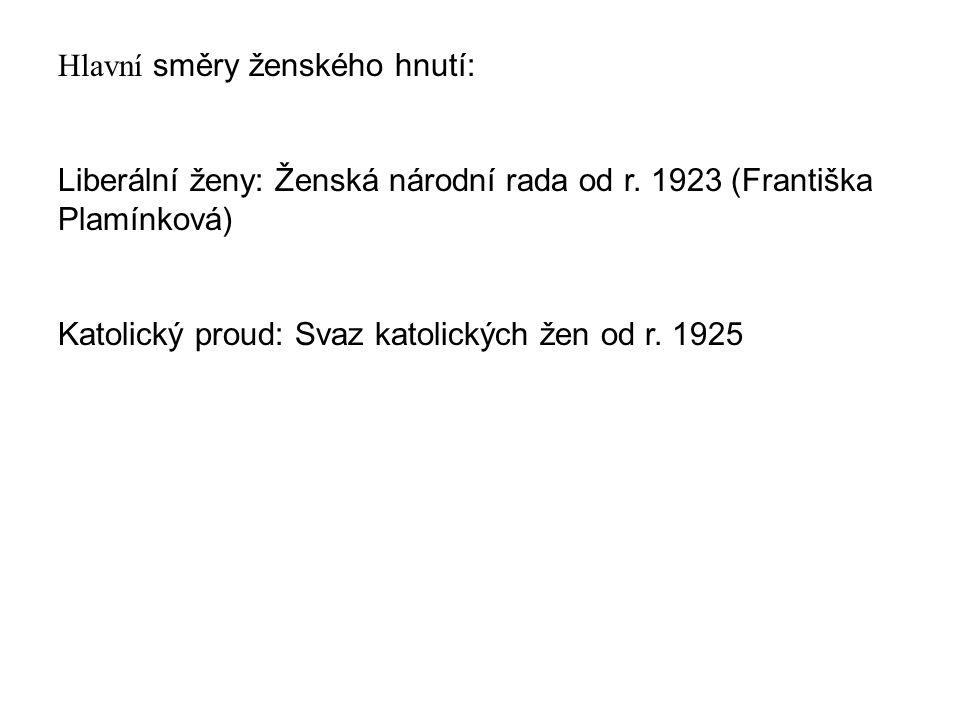 Ženská národní rada (1923-1942) Centrála v Praze, pobočka v Brně V roce 1935 -- 50 organizací Časopis Ženská rada (1925-1938) Předsedkyně: Františka Plamínková (1923-1942), Milada Horáková (Rada československých žen 1945-1948)