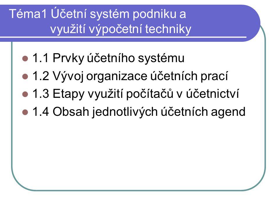 Téma1 Účetní systém podniku a využití výpočetní techniky 1.1 Prvky účetního systému 1.2 Vývoj organizace účetních prací 1.3 Etapy využití počítačů v ú