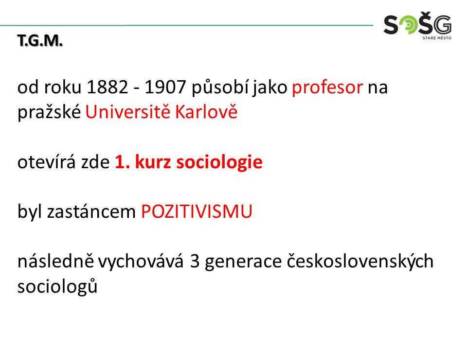 T.G.M. od roku 1882 - 1907 působí jako profesor na pražské Universitě Karlově otevírá zde 1.