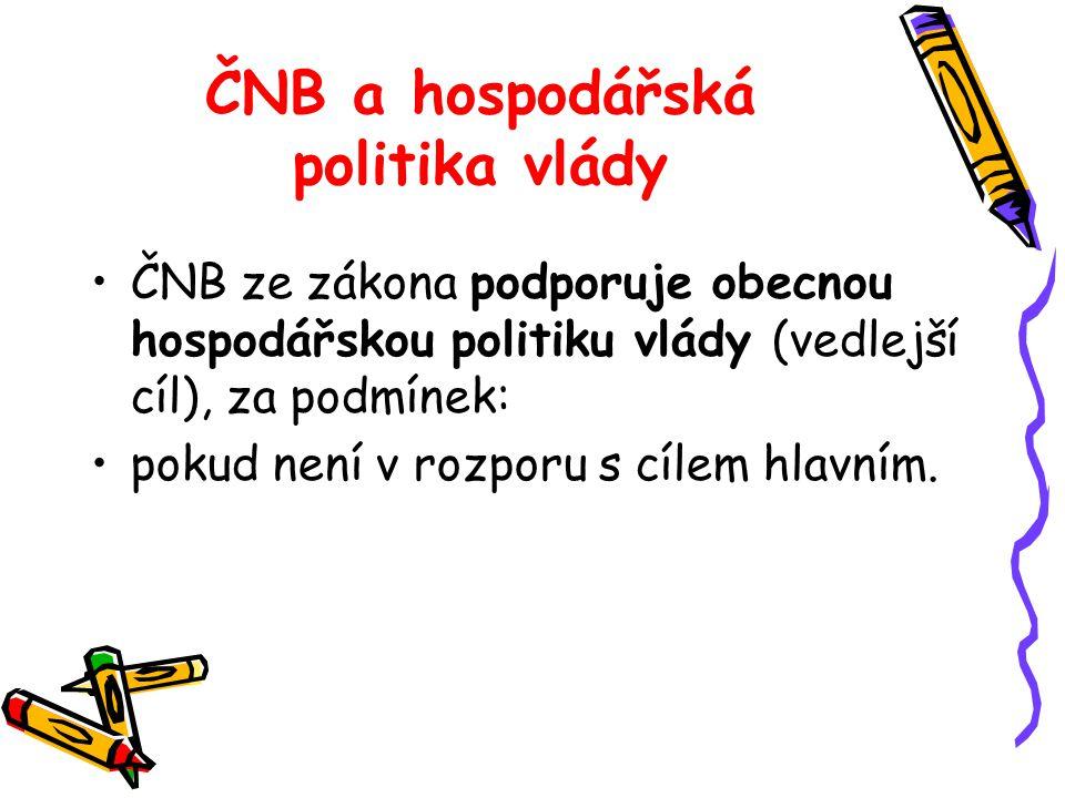 ČNB a hospodářská politika vlády ČNB ze zákona podporuje obecnou hospodářskou politiku vlády (vedlejší cíl), za podmínek: pokud není v rozporu s cílem