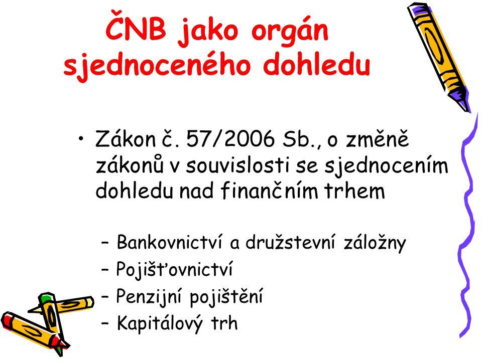 ČNB jako orgán sjednoceného dohledu Zákon č. 57/2006 Sb., o změně zákonů v souvislosti se sjednocením dohledu nad finančním trhem –Bankovnictví a druž
