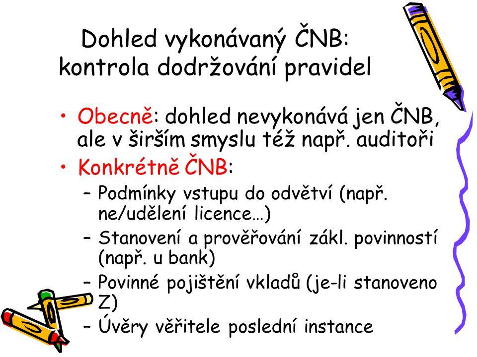 Dohled vykonávaný ČNB: kontrola dodržování pravidel Obecně: dohled nevykonává jen ČNB, ale v širším smyslu též např. auditoři Konkrétně ČNB: –Podmínky