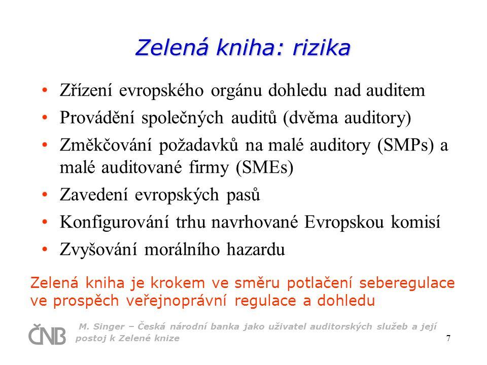 M. Singer – Česká národní banka jako uživatel auditorských služeb a její postoj k Zelené knize 7 Zelená kniha: rizika Zřízení evropského orgánu dohled