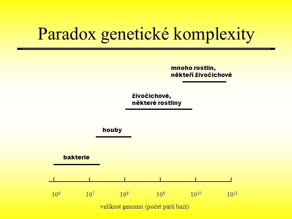 bakterie houby živočichové, některé rostliny mnoho rostlin, někteří živočichové 10 6 10 7 10 8 10 910 10 11 velikost genomu (počet párů bazí) Paradox