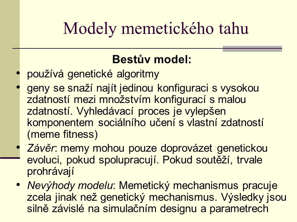 Modely memetického tahu Bestův model: používá genetické algoritmy geny se snaží najít jedinou konfiguraci s vysokou zdatností mezi množstvím konfigura