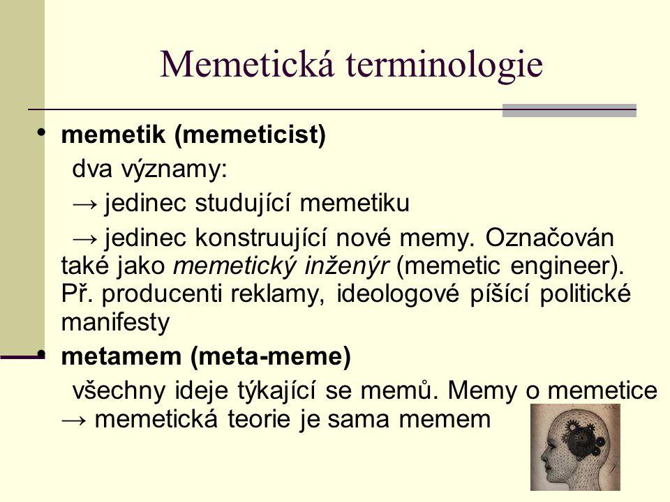 Memetická terminologie memetik (memeticist) dva významy: → jedinec studující memetiku → jedinec konstruující nové memy. Označován také jako memetický