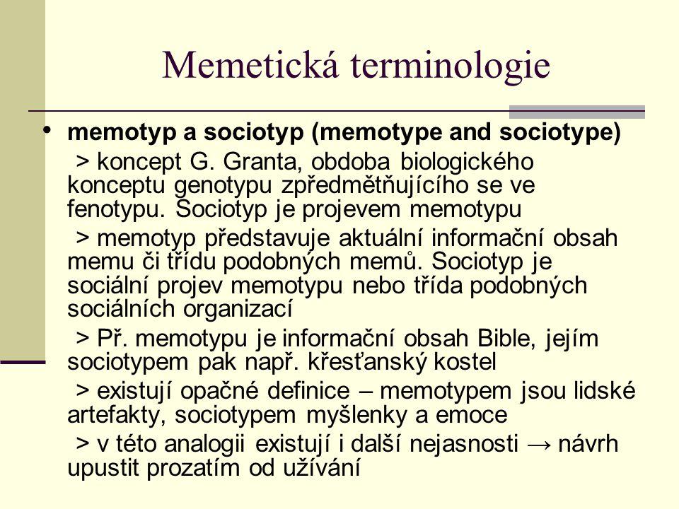 Memetická terminologie memotyp a sociotyp (memotype and sociotype) > koncept G. Granta, obdoba biologického konceptu genotypu zpředmětňujícího se ve f