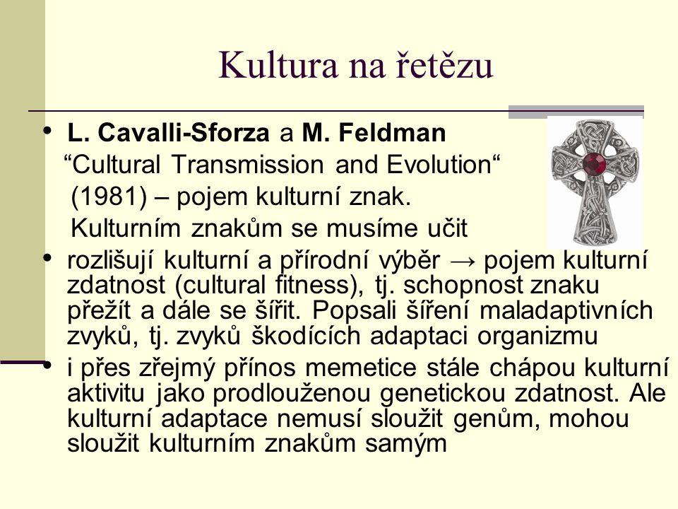 """Kultura na řetězu L. Cavalli-Sforza a M. Feldman """"Cultural Transmission and Evolution"""" (1981) – pojem kulturní znak. Kulturním znakům se musíme učit r"""