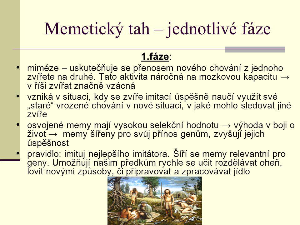 Memetický tah – jednotlivé fáze 1.fáze: miméze – uskutečňuje se přenosem nového chování z jednoho zvířete na druhé. Tato aktivita náročná na mozkovou