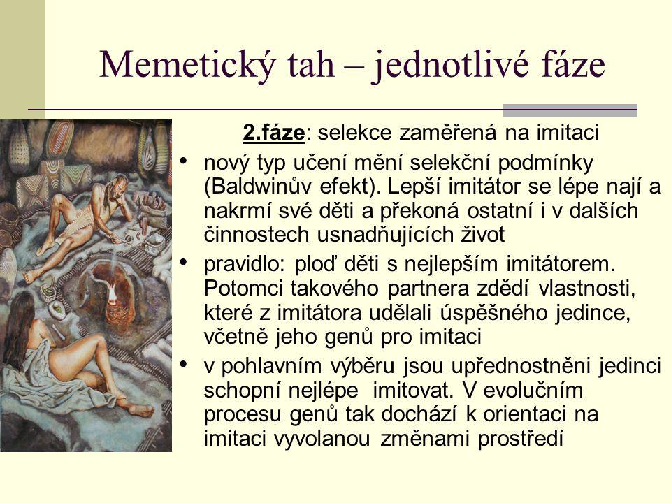 Memetický tah – jednotlivé fáze 3.fáze: selekce zaměřená na imitaci imitátorů memů exponenciálně přibývá, jejich vývoj velmi rychlý → geny nejsou schopny efektivně volit které memy pro geny přínosné, podle čeho vybírat nejlepšího imitátora pro partnerský vztah.