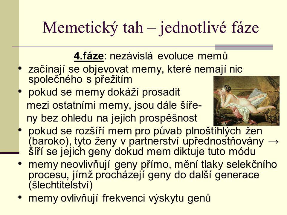 Memetický tah – jednotlivé fáze 4.fáze: nezávislá evoluce memů začínají se objevovat memy, které nemají nic společného s přežitím pokud se memy dokáží