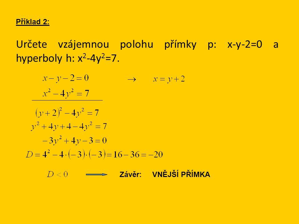 Určete vzájemnou polohu přímky p: x-y-2=0 a hyperboly h: x 2 -4y 2 =7. Příklad 2: Závěr: VNĚJŠÍ PŘÍMKA