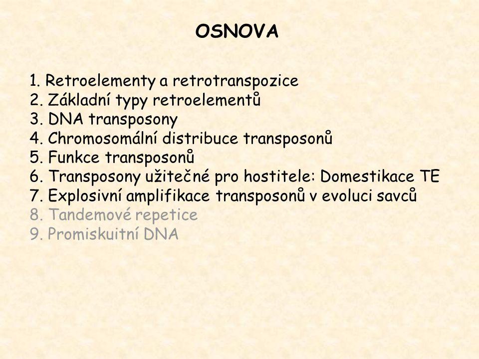 1. Retroelementy a retrotranspozice 2. Základní typy retroelementů 3. DNA transposony 4. Chromosomální distribuce transposonů 5. Funkce transposonů 6.
