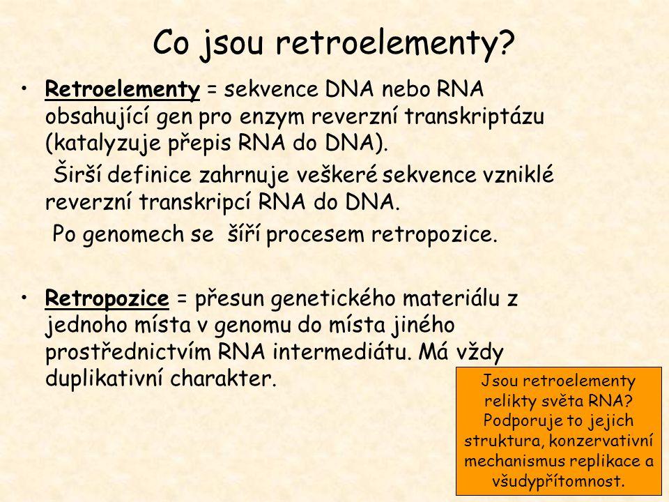 Co jsou retroelementy? Retroelementy = sekvence DNA nebo RNA obsahující gen pro enzym reverzní transkriptázu (katalyzuje přepis RNA do DNA). Širší def