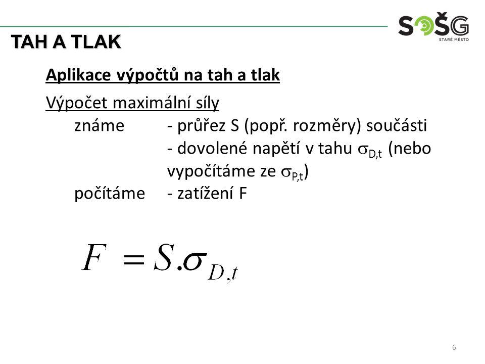 TAH A TLAK 6 Aplikace výpočtů na tah a tlak Výpočet maximální síly známe- průřez S (popř. rozměry) součásti - dovolené napětí v tahu  D,t (nebo vypoč
