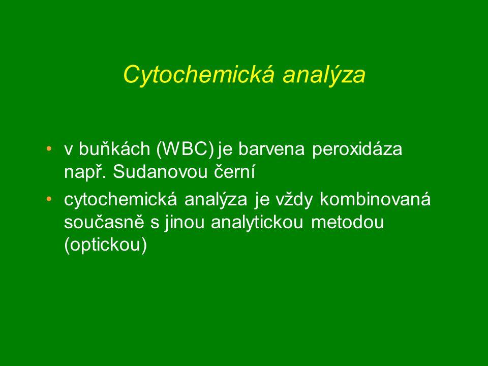 Cytochemická analýza v buňkách (WBC) je barvena peroxidáza např.