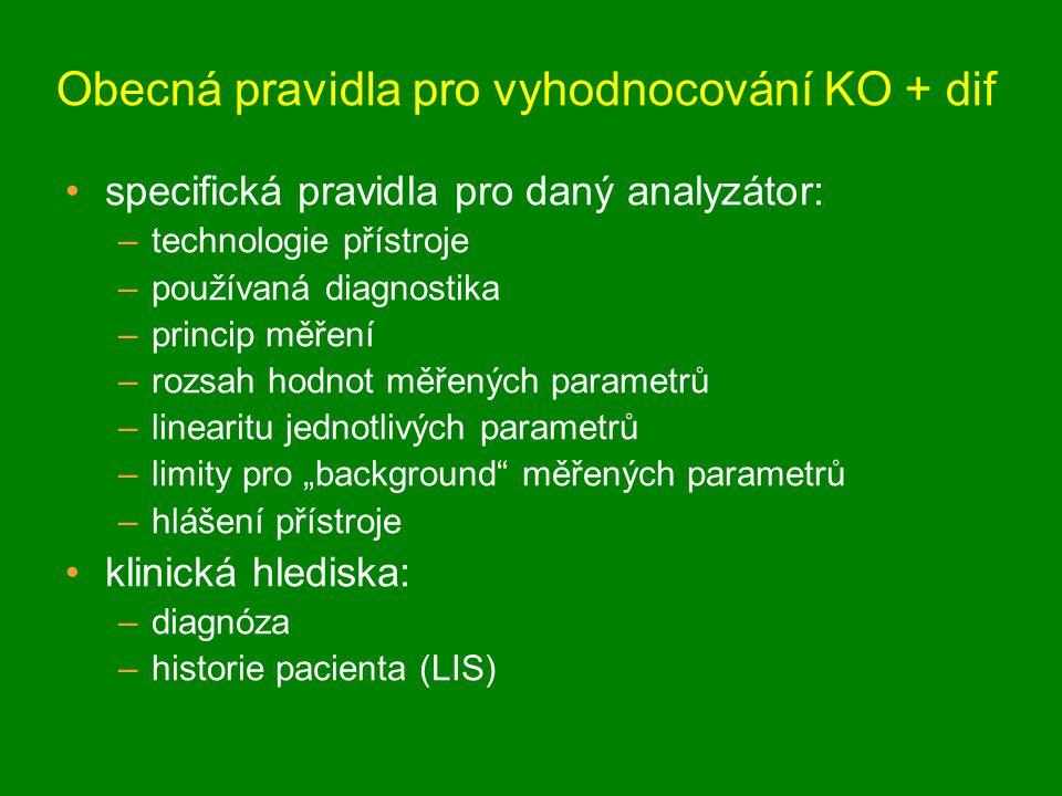"""specifická pravidla pro daný analyzátor: –technologie přístroje –používaná diagnostika –princip měření –rozsah hodnot měřených parametrů –linearitu jednotlivých parametrů –limity pro """"background měřených parametrů –hlášení přístroje klinická hlediska: –diagnóza –historie pacienta (LIS) Obecná pravidla pro vyhodnocování KO + dif"""
