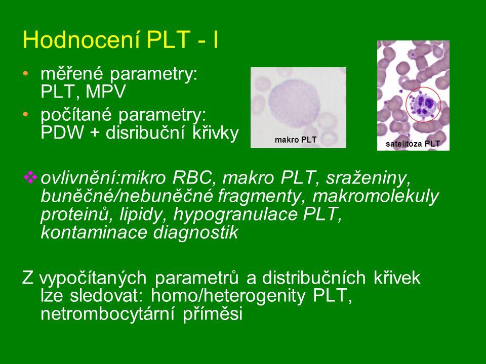 Hodnocení PLT - I měřené parametry: PLT, MPV počítané parametry: PDW + disribuční křivky  ovlivnění:mikro RBC, makro PLT, sraženiny, buněčné/nebuněčné fragmenty, makromolekuly proteinů, lipidy, hypogranulace PLT, kontaminace diagnostik Z vypočítaných parametrů a distribučních křivek lze sledovat: homo/heterogenity PLT, netrombocytární příměsi makro PLT satelitóza PLT