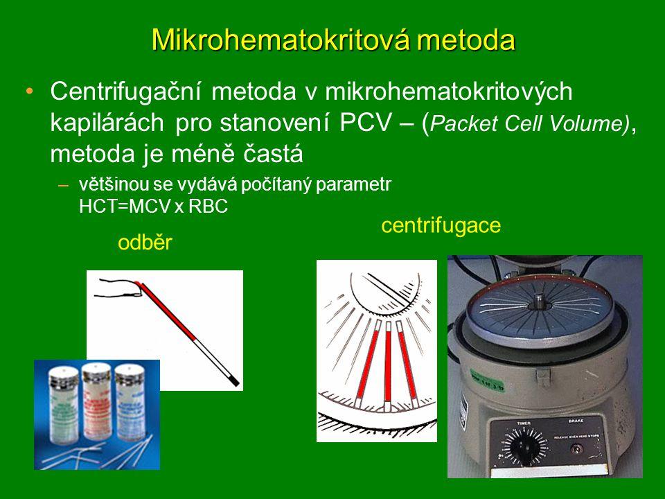 Mikrohematokritová metoda Centrifugační metoda v mikrohematokritových kapilárách pro stanovení PCV – ( Packet Cell Volume), metoda je méně častá –většinou se vydává počítaný parametr HCT=MCV x RBC odběr centrifugace