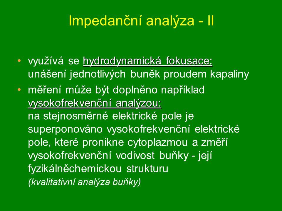 Impedanční analýza - II hydrodynamická fokusace:využívá se hydrodynamická fokusace: unášení jednotlivých buněk proudem kapaliny vysokofrekvenční analý