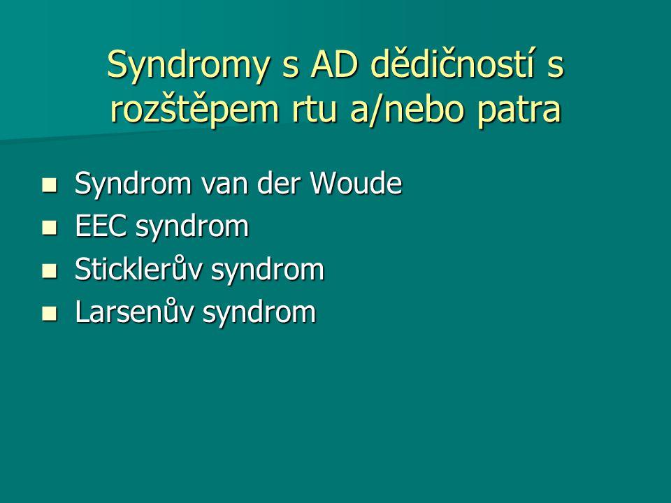 Syndromy s AD dědičností s rozštěpem rtu a/nebo patra Syndrom van der Woude Syndrom van der Woude EEC syndrom EEC syndrom Sticklerův syndrom Sticklerův syndrom Larsenův syndrom Larsenův syndrom