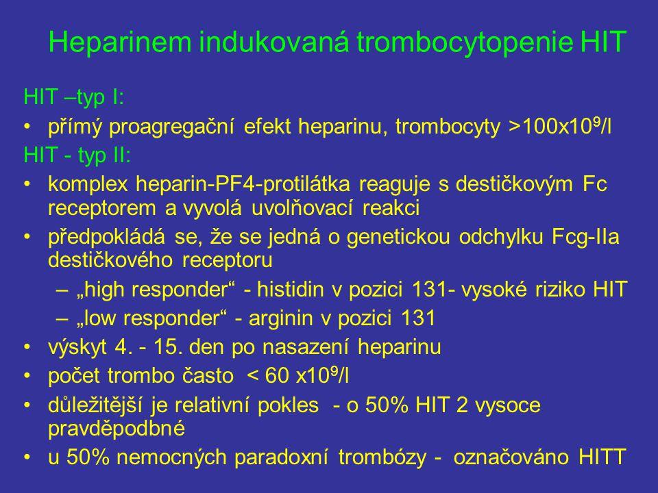 Heparinem indukovaná trombocytopenie HIT HIT –typ I: přímý proagregační efekt heparinu, trombocyty >100x10 9 /l HIT - typ II: komplex heparin-PF4-prot
