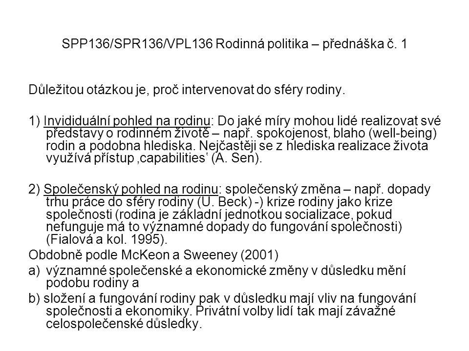 SPP136/SPR136/VPL136 Rodinná politika – přednáška č. 1 Důležitou otázkou je, proč intervenovat do sféry rodiny. 1) Invididuální pohled na rodinu: Do j