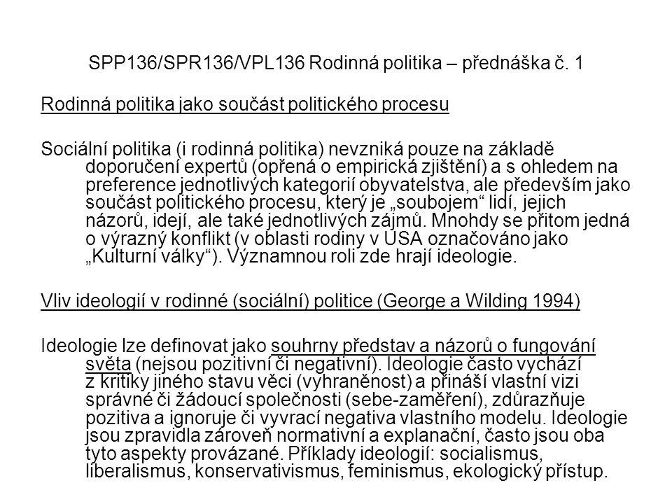 SPP136/SPR136/VPL136 Rodinná politika – přednáška č. 1 Rodinná politika jako součást politického procesu Sociální politika (i rodinná politika) nevzni