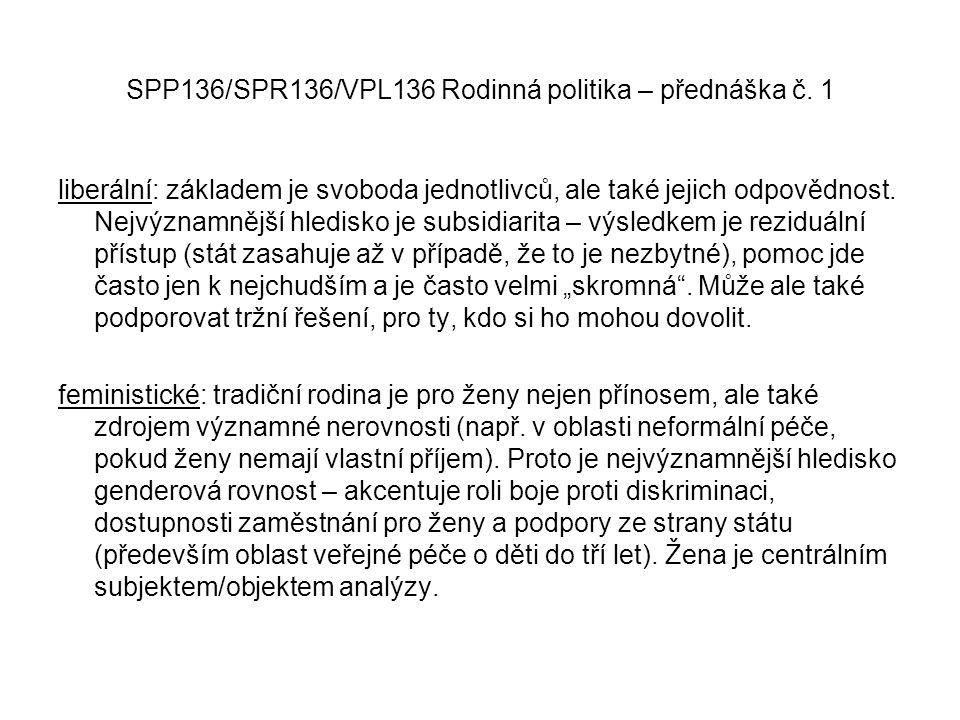 SPP136/SPR136/VPL136 Rodinná politika – přednáška č. 1 liberální: základem je svoboda jednotlivců, ale také jejich odpovědnost. Nejvýznamnější hledisk
