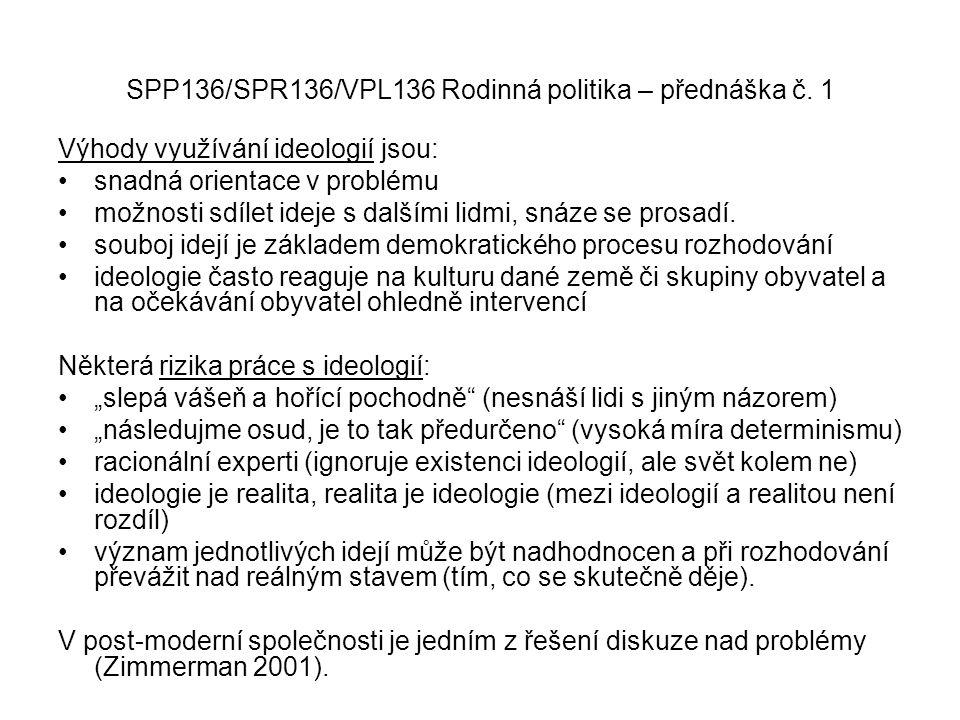 SPP136/SPR136/VPL136 Rodinná politika – přednáška č. 1 Výhody využívání ideologií jsou: snadná orientace v problému možnosti sdílet ideje s dalšími li