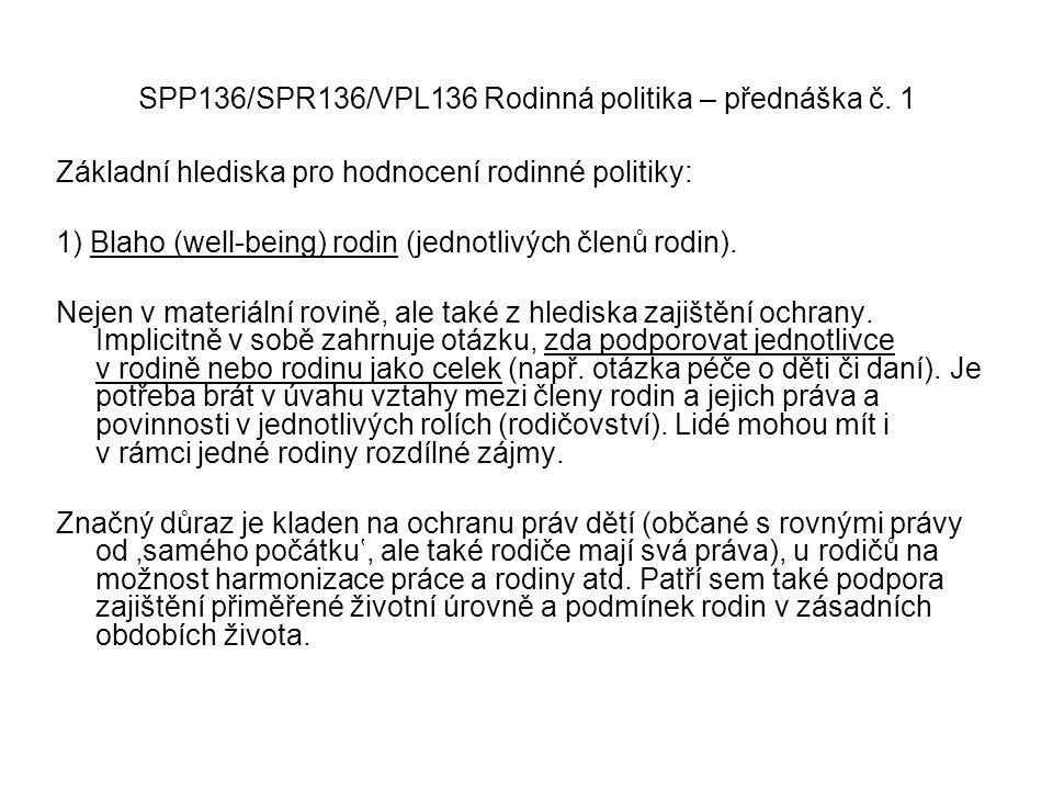 SPP136/SPR136/VPL136 Rodinná politika – přednáška č. 1 Základní hlediska pro hodnocení rodinné politiky: 1) Blaho (well-being) rodin (jednotlivých čle