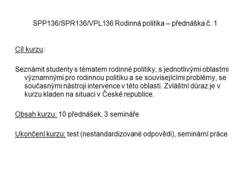 SPP136/SPR136/VPL136 Rodinná politika – přednáška č. 1 Cíl kurzu: Seznámit studenty s tématem rodinné politiky, s jednotlivými oblastmi významnými pro