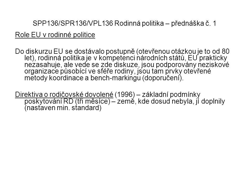 SPP136/SPR136/VPL136 Rodinná politika – přednáška č. 1 Role EU v rodinné politice Do diskurzu EU se dostávalo postupně (otevřenou otázkou je to od 80
