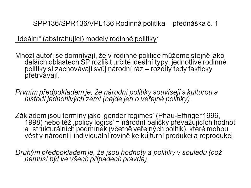 """SPP136/SPR136/VPL136 Rodinná politika – přednáška č. 1 """"Ideální"""" (abstrahující) modely rodinné politiky: Mnozí autoři se domnívají, že v rodinné polit"""