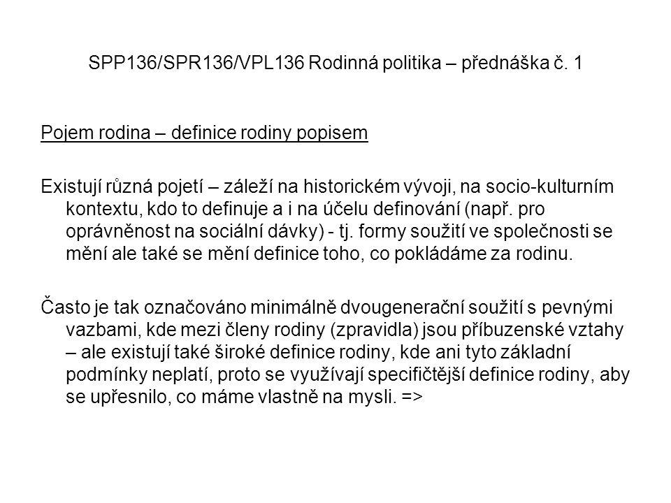 SPP136/SPR136/VPL136 Rodinná politika – přednáška č. 1 Pojem rodina – definice rodiny popisem Existují různá pojetí – záleží na historickém vývoji, na