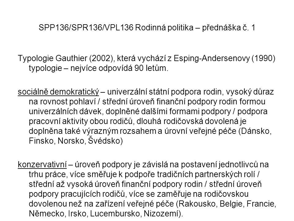 SPP136/SPR136/VPL136 Rodinná politika – přednáška č. 1 Typologie Gauthier (2002), která vychází z Esping-Andersenovy (1990) typologie – nejvíce odpoví