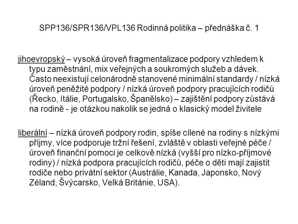 SPP136/SPR136/VPL136 Rodinná politika – přednáška č. 1 jihoevropský – vysoká úroveň fragmentalizace podpory vzhledem k typu zaměstnání, mix veřejných