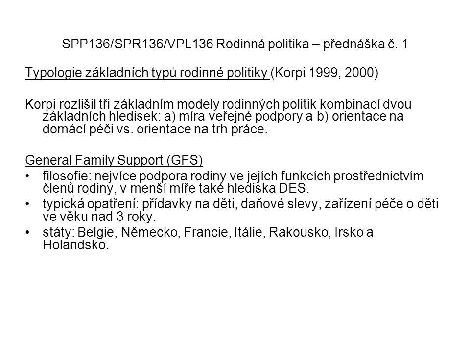 SPP136/SPR136/VPL136 Rodinná politika – přednáška č. 1 Typologie základních typů rodinné politiky (Korpi 1999, 2000) Korpi rozlišil tři základním mode