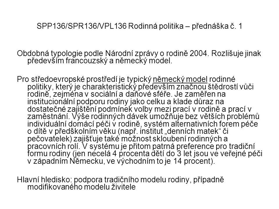 SPP136/SPR136/VPL136 Rodinná politika – přednáška č. 1 Obdobná typologie podle Národní zprávy o rodině 2004. Rozlišuje jinak především francouzský a n