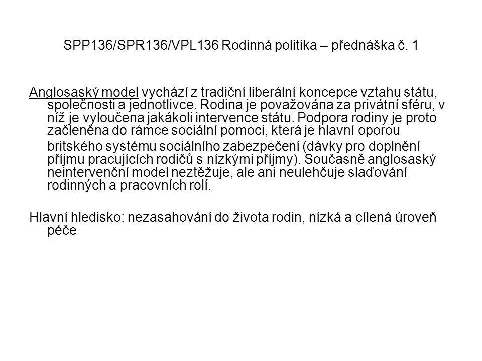 SPP136/SPR136/VPL136 Rodinná politika – přednáška č. 1 Anglosaský model vychází z tradiční liberální koncepce vztahu státu, společnosti a jednotlivce.