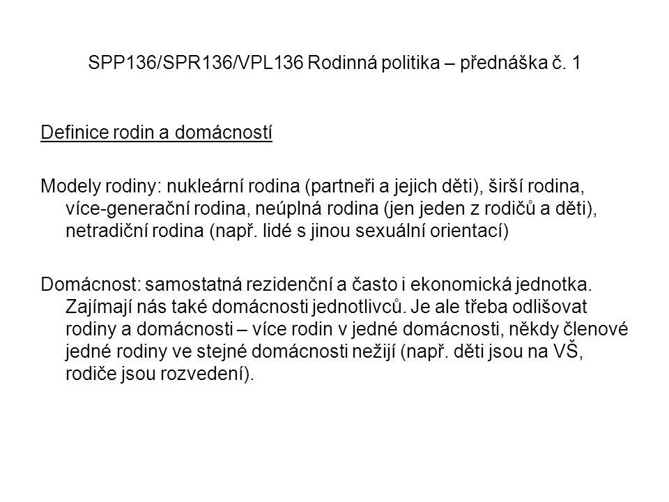 SPP136/SPR136/VPL136 Rodinná politika – přednáška č. 1 Definice rodin a domácností Modely rodiny: nukleární rodina (partneři a jejich děti), širší rod