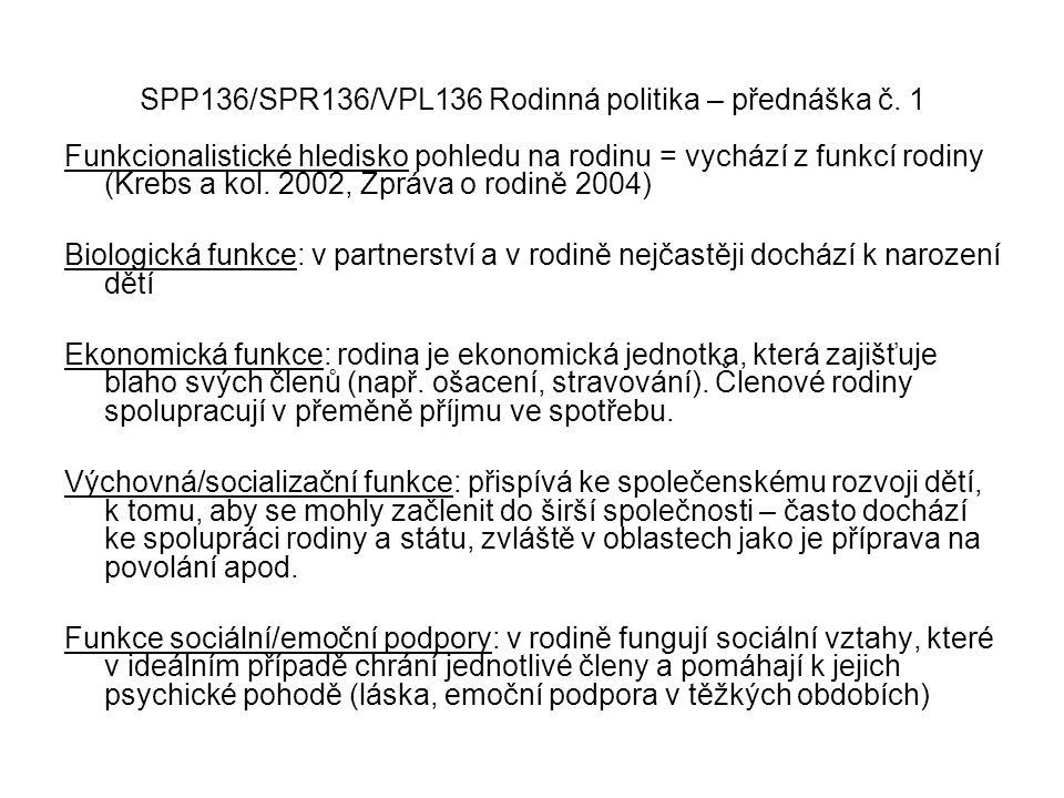 SPP136/SPR136/VPL136 Rodinná politika – přednáška č. 1 Funkcionalistické hledisko pohledu na rodinu = vychází z funkcí rodiny (Krebs a kol. 2002, Zprá