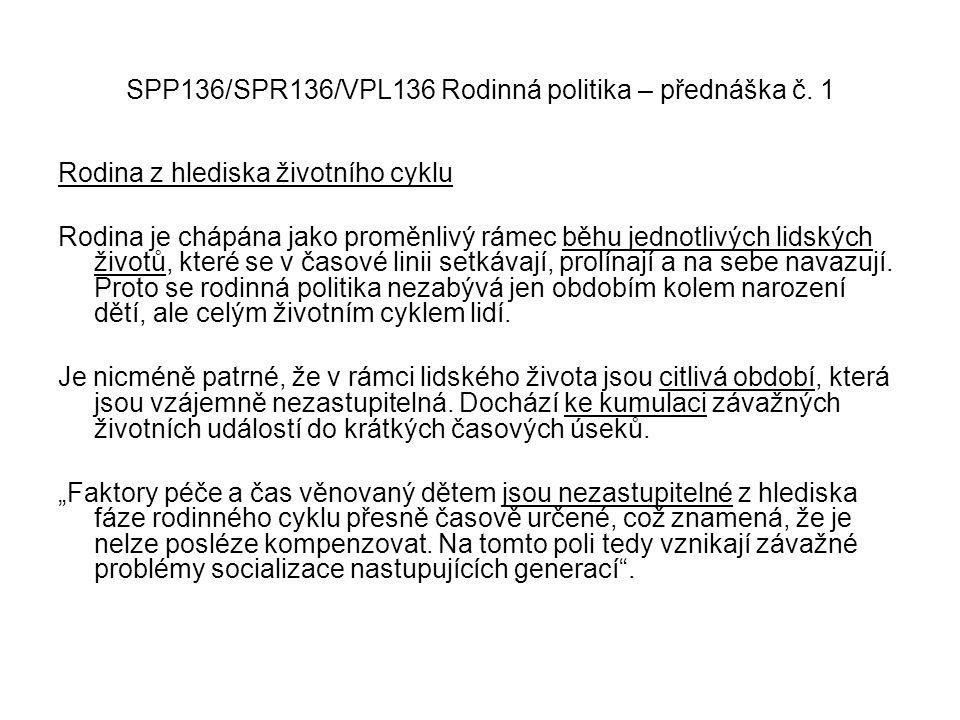 SPP136/SPR136/VPL136 Rodinná politika – přednáška č. 1 Rodina z hlediska životního cyklu Rodina je chápána jako proměnlivý rámec běhu jednotlivých lid