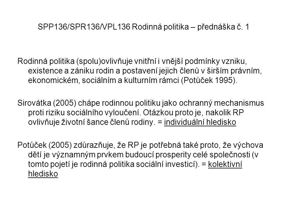 SPP136/SPR136/VPL136 Rodinná politika – přednáška č. 1 Rodinná politika (spolu)ovlivňuje vnitřní i vnější podmínky vzniku, existence a zániku rodin a