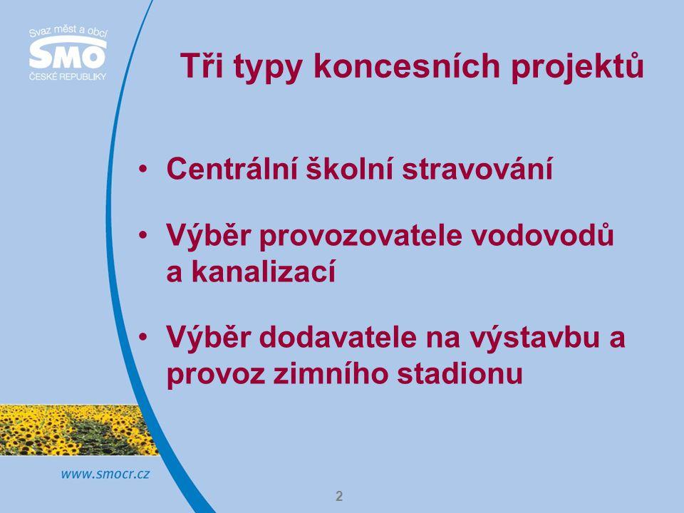 2 Tři typy koncesních projektů Centrální školní stravování Výběr provozovatele vodovodů a kanalizací Výběr dodavatele na výstavbu a provoz zimního stadionu