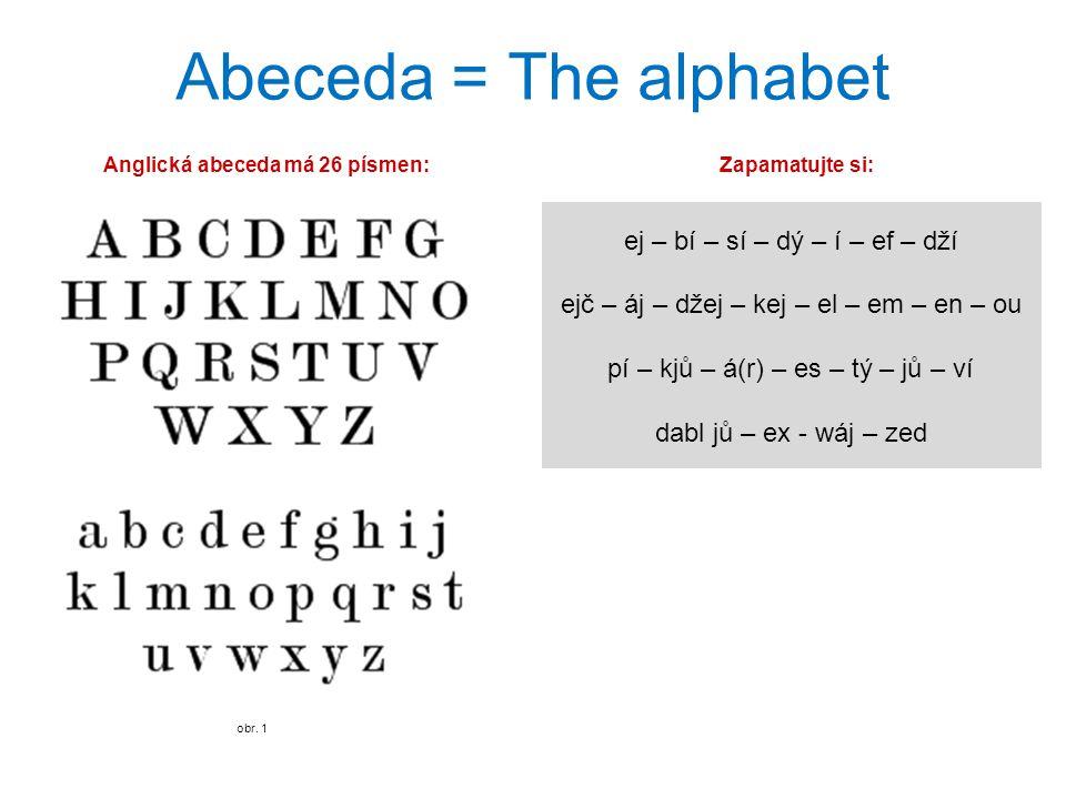 Abeceda = The alphabet obr. 1 ej – bí – sí – dý – í – ef – dží ejč – áj – džej – kej – el – em – en – ou pí – kjů – á(r) – es – tý – jů – ví dabl jů –