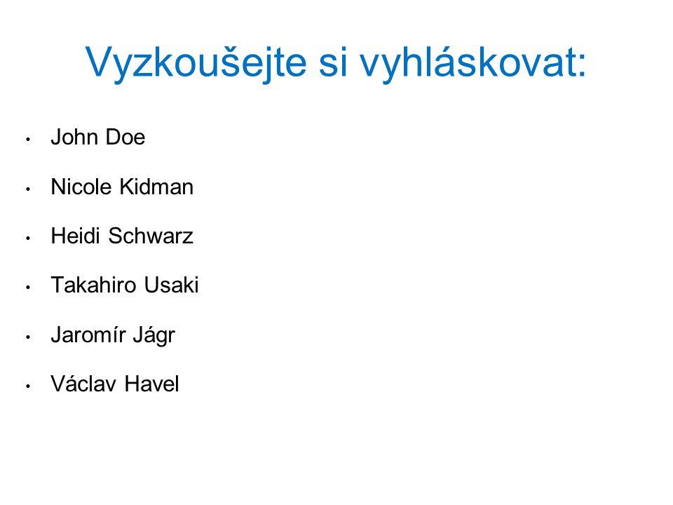 Vyzkoušejte si vyhláskovat: John Doe Nicole Kidman Heidi Schwarz Takahiro Usaki Jaromír Jágr Václav Havel