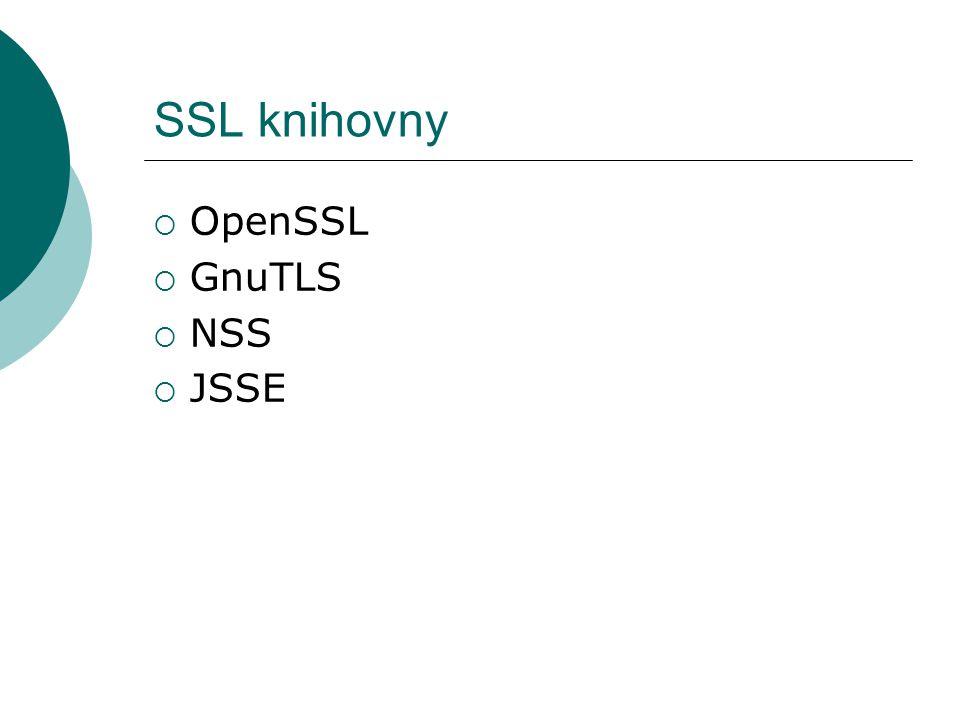 SSL knihovny  OpenSSL  GnuTLS  NSS  JSSE